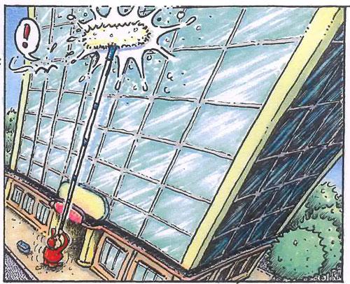 Glasfassade mit Teleskopstange putzen