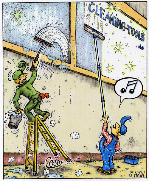 Scheller und besser Fenster reinigen mit Teleskopstange