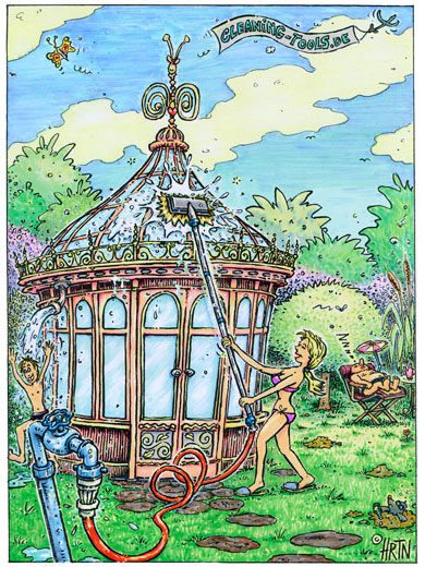 Gartenhausdach mit Wasserdurchlaufsdtange reinigen