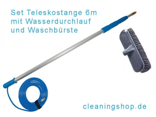 Set mit Wasserteleskopstange 6m Auszugslänge und Waschbürste